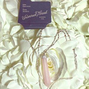 Semi precious Rose quartz necklace
